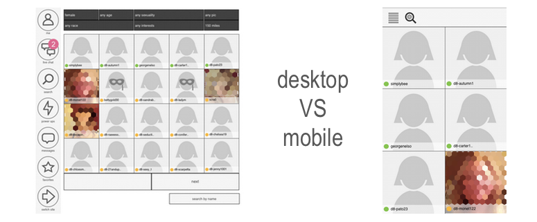 search on mobile and desktop